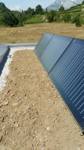 Front of the thermal solar panel with substrate depth of max. 100mm