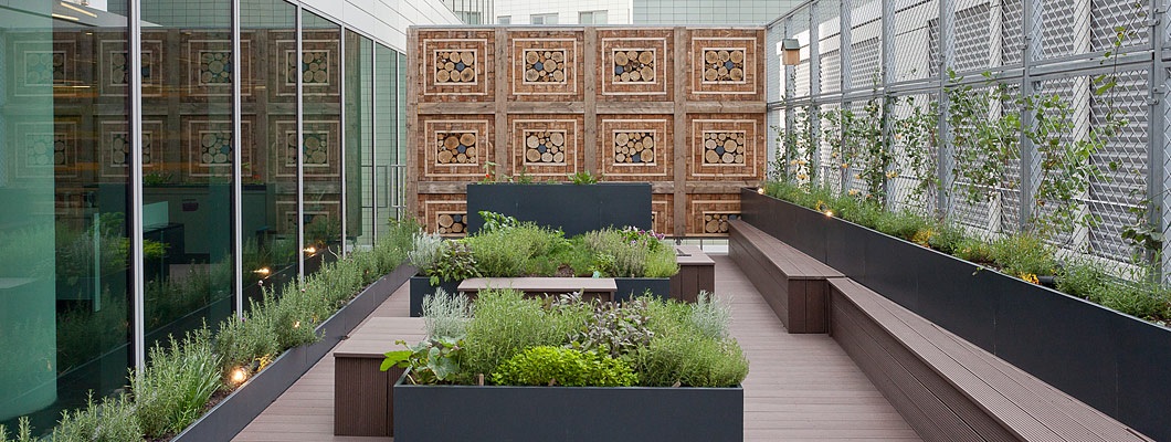 Green roof planters & bee hotels on comercial building roof