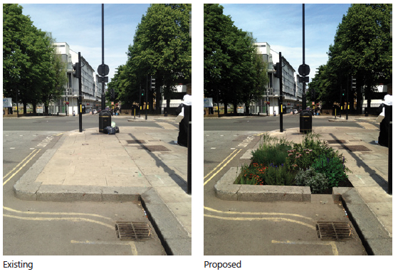 Green Infrastructure de-paving on Church Street London